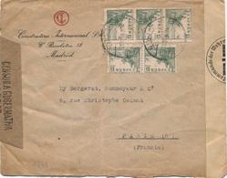 Lettre Madrid Censura Gubernatina + Censure Allemande - 1931-Hoy: 2ª República - ... Juan Carlos I
