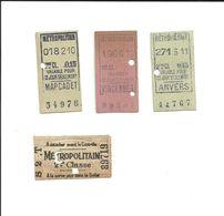 4 Tickets MÉTROPOLITAIN. Anciens. Paris. Voir Description - Metropolitana