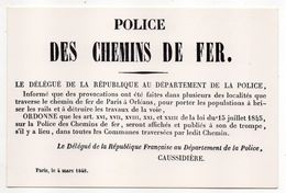 PARIS--Musée De L'affiche Et Du Tract--Fac-Similé Affiche Police Des Chemins De Fer-1848 - Chemins De Fer