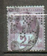 GB Victoria 2 1/2p Violet Perforé 1887-1900 N°95 - 1840-1901 (Victoria)