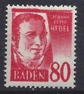 Germany (Baden) 1948-49 80pf (**) MNH Mi.36 Y I - French Zone