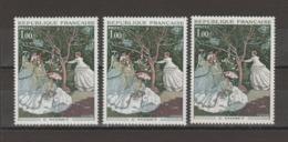 """FRANCE / 1972 / Y&T N° 1703 ** : """"Femmes Au Jardin"""" (Claude MONET) X 3 En TP Isolés - Gomme D'origine Intacte - France"""