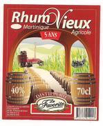 Etiquette  RHUM  Vieux  Agricole La Favorite - 5 Ans -   MARTINIQUE  - 40° 70cl - - Rhum