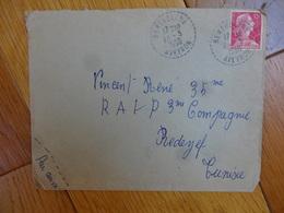 15 Fr Sabine Sur Enveloppe Cachet Perle Bertholene  Aveyron 1956 - Marcophilie (Lettres)