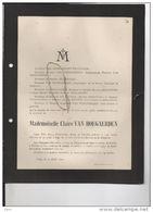 Van Hoegaerden Claire +20/4/1904 Liège Braconnier Van Den Bulcke Esneux - Todesanzeige