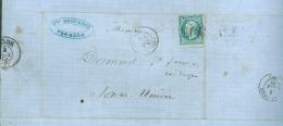 Moselle  - Lettre N° 22 Oblitéré GC 1550 Forbach  Pour Sarre Union 1867 - 1849-1876: Période Classique