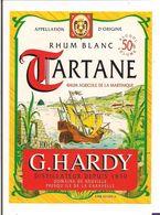 Etiquette  RHUM Blanc Tartane - 55% - G.Hardy, Domaine De Neuville, Pesqu'ile De La Caravelle - MARTINIQUE - - Rhum