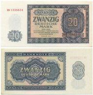 DDR 1955, 20 Mark, Deutsche Notenbank, KN 7stellig, Geldschein, Banknote - 20 Deutsche Mark
