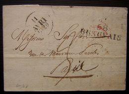 1829 Beauvais Marque Noire Sur Une Lettre Pour Paris - 1801-1848: Précurseurs XIX