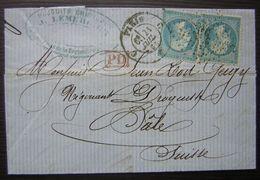 Paris C 1863 Lettre De Jules Lemercier Produits Chimiques Pour Bâle (Suisse) - Postmark Collection (Covers)