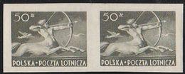 Poland 1948 50zt Centaur Airmail Imperforate Pair. Scott C24. MNH. - Posta Aerea