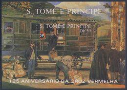 Sao Tomé E Principe 1988 B 183 - Mi 1075 ** Eisenbahnwaggon / Railroad Car -railway Carriage - 125th Ann. Red Cross - Treinen