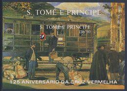 Sao Tomé E Principe 1988 B 183 - Mi 1075 ** Eisenbahnwaggon / Railroad Car -railway Carriage - 125th Ann. Red Cross - Post