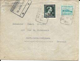 EXPRES De MEENEN13.1.1947 Vers SART-DAMES-AVELINES (14.1.47 C.a.d.) + FRASNES-LEZ-GOSSELIES Férov.   5 Fr. -10% - 1922-1927 Houyoux