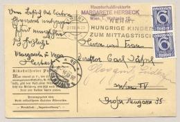 """Österreich - 1934 - 2x 6g On Postcard """"Nemt Hungrige Kinder Zum Mittagstisch"""" Local Use Wien - Brieven En Documenten"""