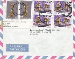 Zaire DRC Congo 1978 Kananga 10k Monkey Overprint Michel 539 Statue Cover - 1971-79: Afgestempeld