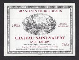Etiquette De Vin Saint Emilion 1983  - Chateau Saint Valéry  -  Faure à Saint Sulpice De Faleyrens (33) - Bordeaux