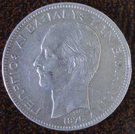 (J) GREECE: Silver 5 Drachmai 1875 VF+ (3505) WOOOW!!! - Grecia