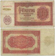DDR 1955, 50 Mark, Deutsche Notenbank, KN 7stellig, Geldschein, Banknote - [ 6] 1949-1990 : GDR - German Dem. Rep.