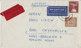 "10 010 Briefhülle Bahnpost ""MÜNSTER-HANNOVER"" 1958 Luftpost Eilbrief - Oblitérés"