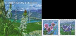 Uzbekistan 2017 Flora Flowers 2v + SS MNH - Uzbekistan