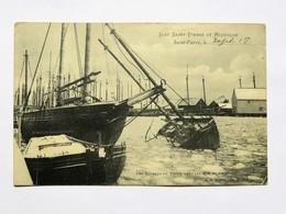 C.P.A. Iles Saint-Pierre Et Miquelon : Les Bateaux De Pêche Dans Les Glaces En Hiver, Timbre En 1917 - Saint-Pierre-et-Miquelon