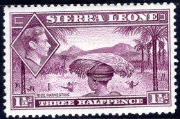 SIERRA LEONE 1938 King George VI.- 11/2d. - Mauve MH - Sierra Leone (...-1960)