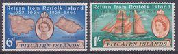 Pitcairn Islands 1961 Return From Norfolk Island 2v ** Mnh (37459A) - Postzegels