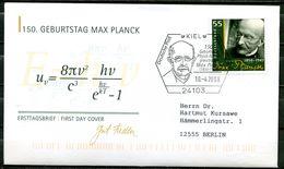 """First Day Cover Germany 2008 Mi.Nr.2658 Künstler Ersttagsbrief""""150.Geb.von Max Planck,Physiker Und Nobelpreis""""1 FDC Bef. - Nobelpreisträger"""