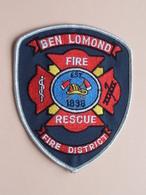 """"""" FIRE - RESCUE """" BEN LOMOND Fire District : BADGE ( +/- 12 X 10 Cm. ) Zie Foto Voor Detail / Brandweer ! - Blazoenen (textiel)"""
