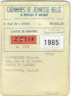 Carte Membre. Caravanes De Jeunesse Belge. 1965. Bruxelles.Camping. - Camping