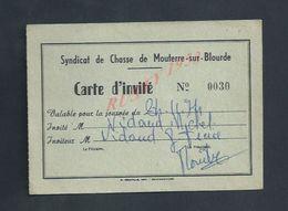 SYNDICAT DE CHASSE CARTE D INVITÉ À MOUTERRE SUR BLOURDE DE Mr VIDAUD MICHEL : - Cartes