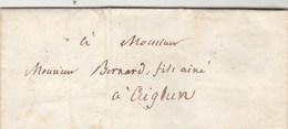 Lettre Sans Marque Postale De GRASSE Alpes Maritimes 21/5/1844 Pour Aiglun - 1801-1848: Précurseurs XIX