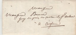Lettre Sans Marque Postale De GRASSE Alpes Maritimes 4/12/1844 Pour Aiglun - 1801-1848: Précurseurs XIX