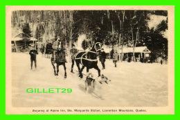 SPORTS D'HIVER - SKIJORING AT ALPINE INN, STE MARGUERITE STATION, LAURENTIAN MOUNTAINS, QUÉBEC - PHOTOGELATINE ENGRAVING - Sports D'hiver
