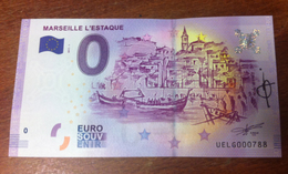 13016 MARSEILLE L'ESTAQUE BILLET ZERO EURO SOUVENIR 2017 SIGNÉ PAR L'ARTISTE BANKNOTE BANK NOTE EURO SCHEIN PAPER MONEY - EURO