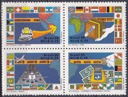 Brasilien Brasil 1989 Postwesen Postdienste EMS Luftpost Flugzeuge Aeroplane Fahnen Flaggen Flags, Mi. 2289-2 ** - Brasilien