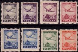 1946 Poland Mi 426 - 433 Warsaw, Airmail, Airplane,  MNH** - Unused Stamps