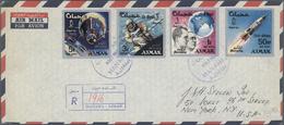 Br/ Adschman / Ajman: 1965/1973, Assortment Of 18 Covers (ten Airmail To USA/England And Eight F.d.c.) - Ajman