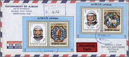 Br Adschman / Ajman: 1968/1972, Collection Of 65 Covers To USA/Europe, Mainly Airmail/registered, All B - Ajman