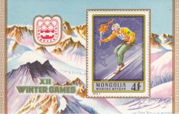 Mongolia 1975 MNH Scott #880 Souvenir Sheet 4t Skier Carrying Torch Winter Olympics Innsbruck - Mongolie