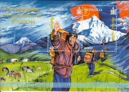 Mongolia 2001 MNH Scott #2486 Sheet Of 2 400t Mongolian Mountaineers - Mongolie