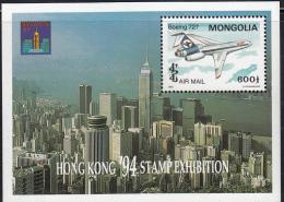 Mongolia 1994 MNH Scott #C189 Souvenir Sheet 600t Boeing 727 Hong Kong 94 - Mongolie