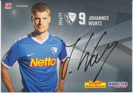 Original Football Autograph Card JOHANNES WURTZ German Bundesliga 2016 / 17 VFL BOCHUM - Autographes