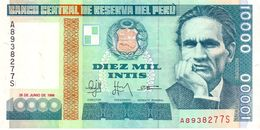 Peru P.14 10000 Intis 1988 Unc - Perù