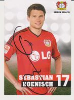 Original Football Autograph Card SEBASTIAN BOENISCH German Bundesliga 2014 / 15 BAYER LEVERKUSEN - Autographes