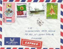Zaire DRC Congo 1988 Kananga Flag River Boat Flower Express Cover - 1980-89: Oblitérés