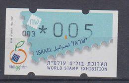 ISRAEL 1998 SIMA ATM WORLD STAMP EXHIBITION TEL AVIV YAFO 0.05 SHEKELS NUMBERS 003 - Franking Labels