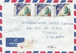 Zaire DRC Congo 1989 Kinshasa Communications 37.50Z Express Registered Cover - 1980-89: Oblitérés