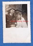 Photo Ancienne - Portrait De Mariage D'un Mlitaire Et Sa Femme - Uniforme Brevet Aviation Armée De L'Air Mode Girl Fille - Guerre, Militaire